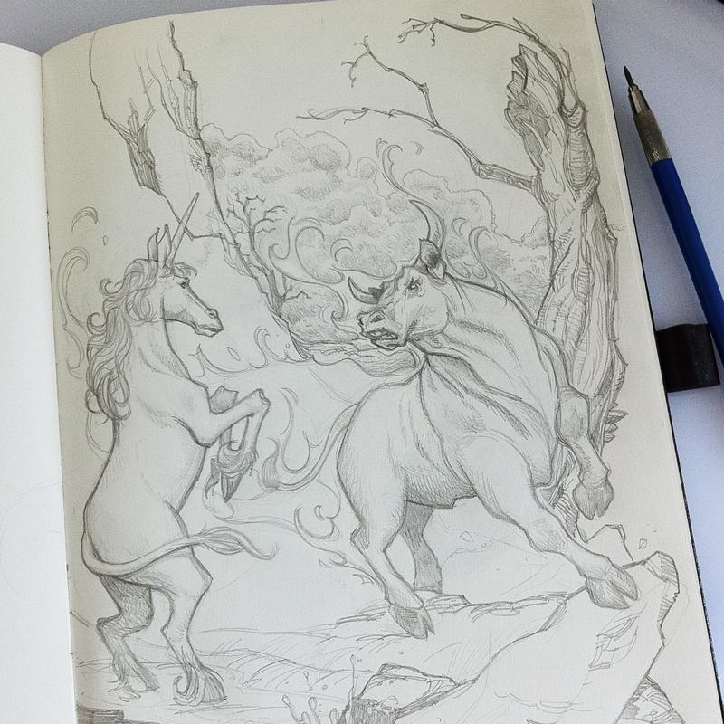 Skizze, letzte Einhorn, Illustrator: Carsten Odenthal / Odenthal Illustration